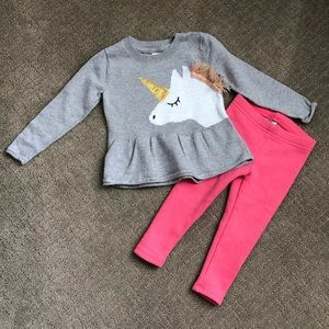 Oshkosh Sweater and Plush lined Leggings 2T